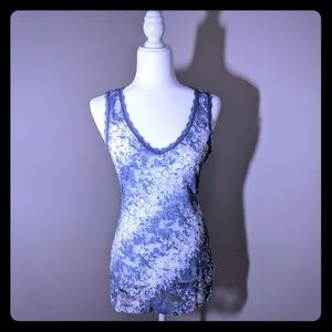 Maurice's Blue/White Lace Tank